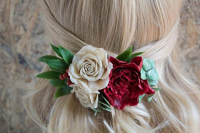 25e84da23c03 Burgundy hair flower for bride Fall autumn wedding floral hair accessories  Maroon peony hair clip Beige ivory roses Eucalyptus Bridesmaids comb maid  of ...