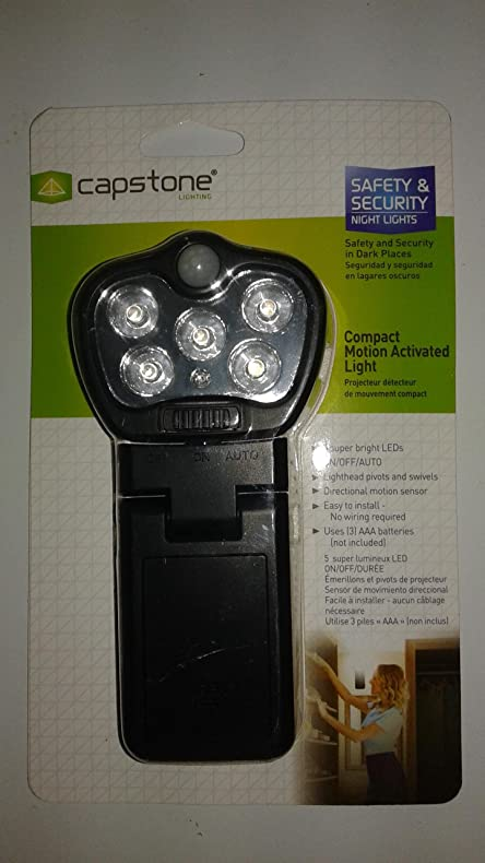 5 Light Compact Motion Activated Light (Black) Batteries Not Included
