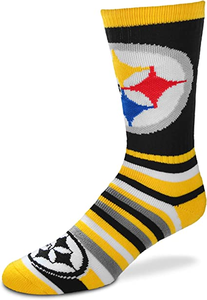For Bare Feet NFL Fan Nation Crew Socks One Size Fits Most Pittsburgh Steelers