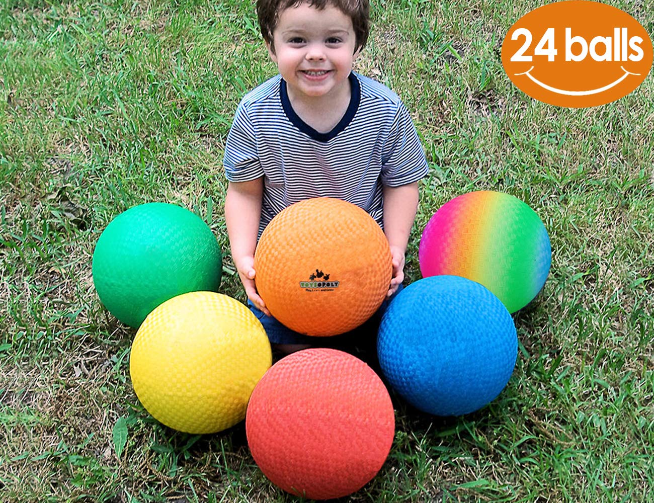 ToysOpoly Playground Balls 8.5 inch Dodgeball (Set of 24) Kickball for Kids and Adults - Official Size for Dodge Ball, Handball, Camps and Smart School + Free Pump & Mesh Bag by ToysOpoly