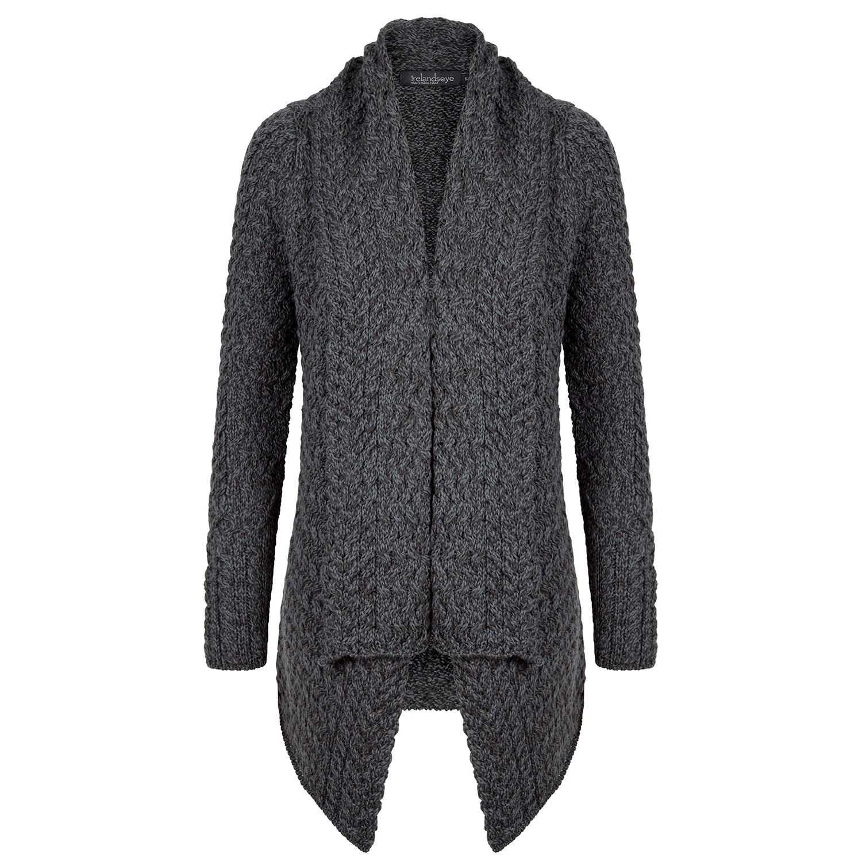Ladies 100% Irish Merino Wool Aran Glenross Waterfall Sweater by Ireland's Eye