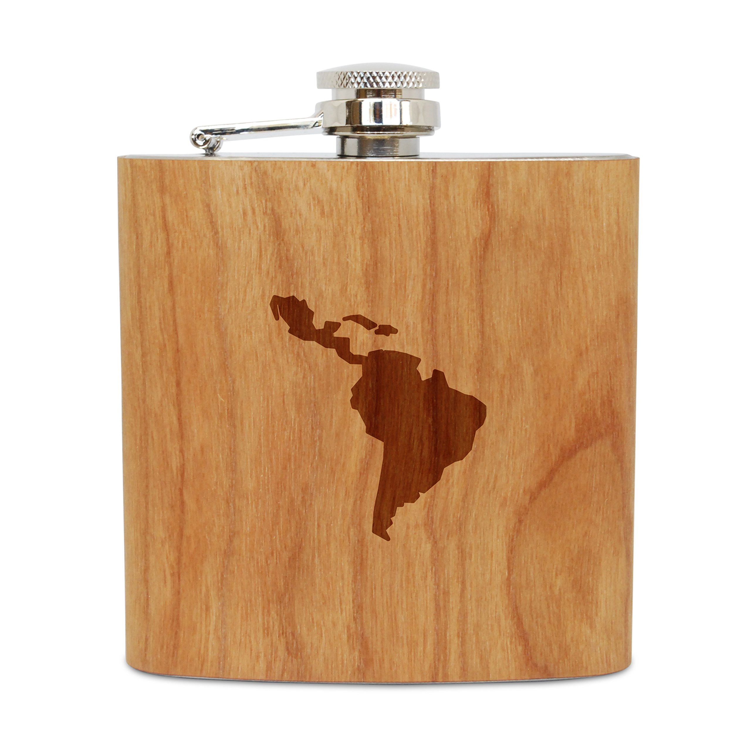 WOODEN ACCESSORIES COMPANY Cherry Wood Flask With Stainless Steel Body - Laser Engraved Flask With Latin America Design - 6 Oz Wood Hip Flask Handmade In USA