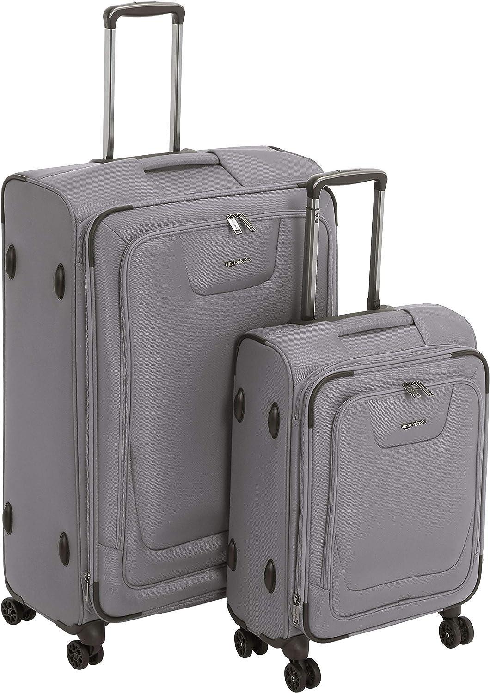 AmazonBasics - Set de dos maletas con ruedas, de calidad superior, expandible, con lados blandos y cierre con candado TSA, (53 cm, 74cm), Gris