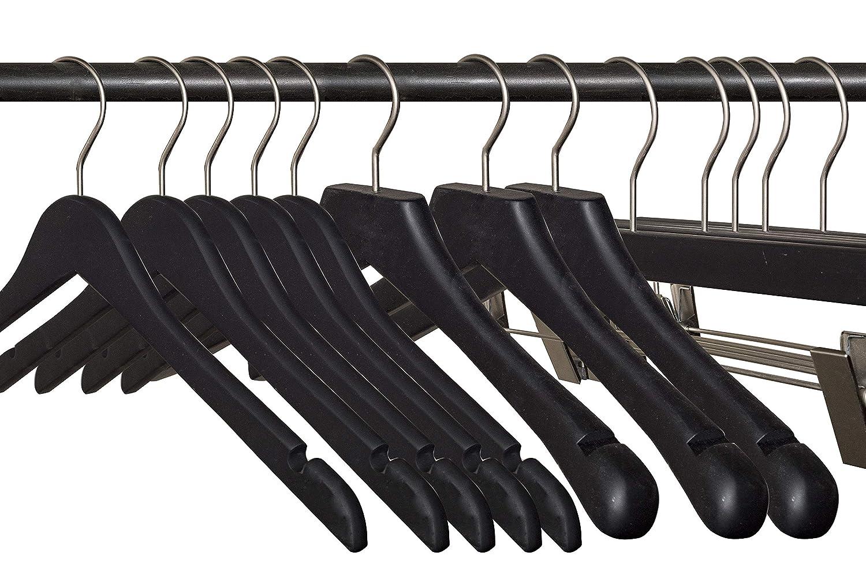 Pack of 100 Flat NAHANCO 20817 Wooden Top Hanger Rubberized Black Coating 17