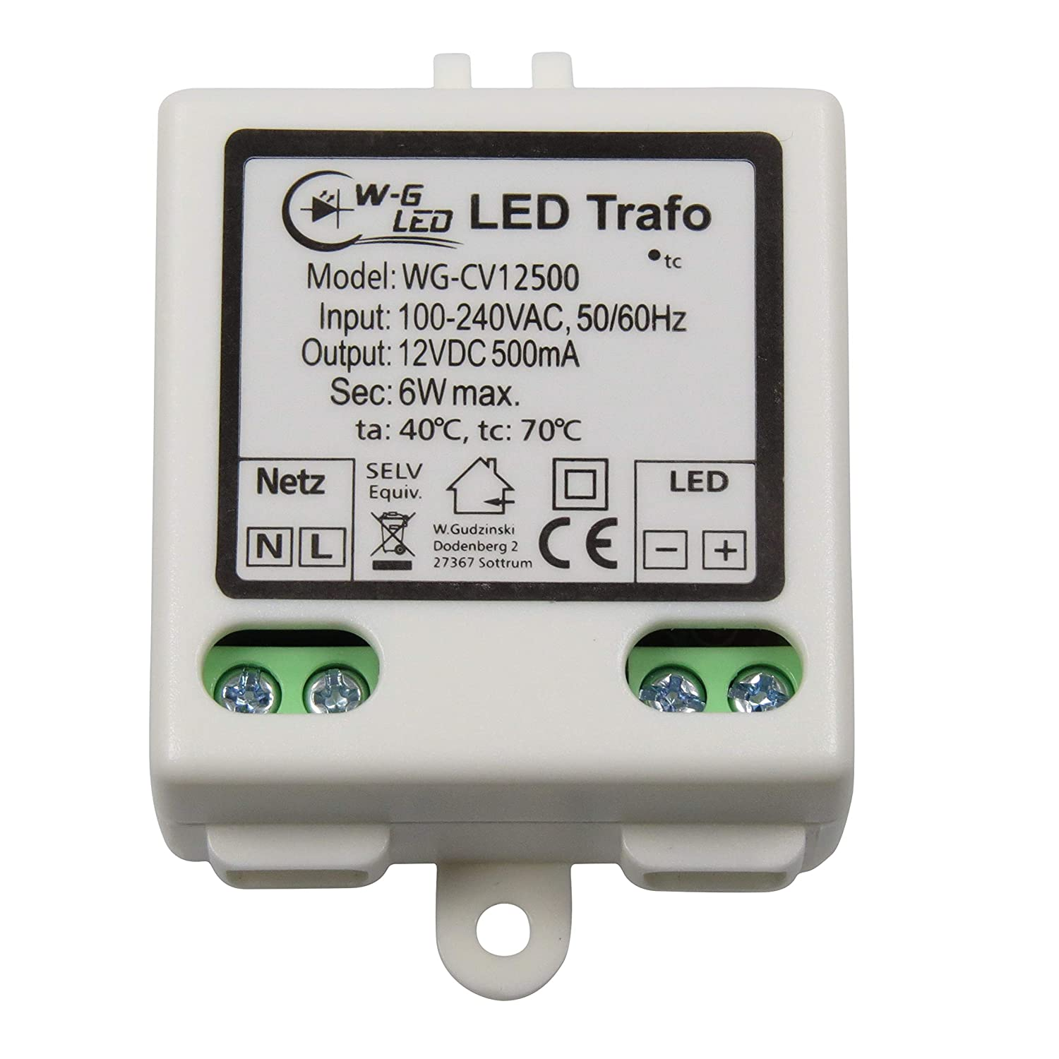 Transformador led 12 V, corriente continua, m/áximo 6 W W-G LED 1200500