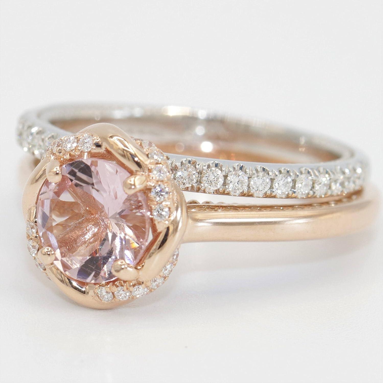 Amazon Com Wedding Rings Set 14k Rose Gold Engagement Diamond