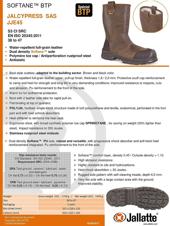 Jallatte jalcypress piel plena flor marrón Rigger de seguridad botas de trabajo, color Marrón, talla 41.5: Amazon.es: Zapatos y complementos