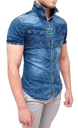 nuovi arrivi 01cbe 96a2f Evoga Camicia di Jeans Uomo Blu Denim a Manica Corta Slim ...