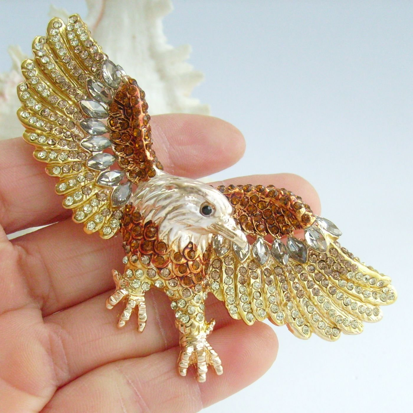 Sindary Unique 3.15'' Eagle Brooch Pin Rhinestone Crystal Pendant BZ4717 (Gold-Tone Brown) by Animal Brooch-Sindary Jewelry (Image #2)