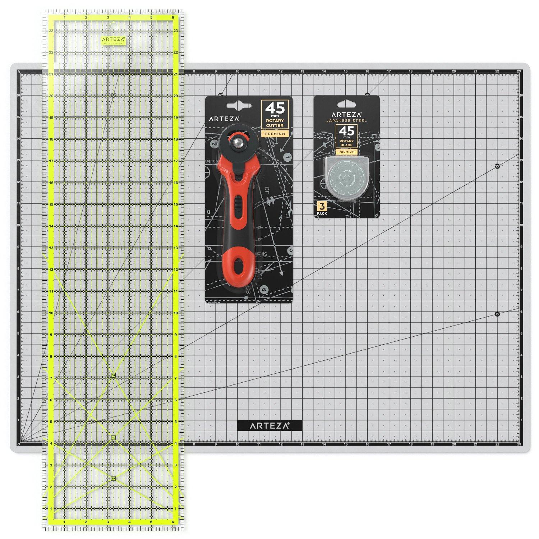 ARTEZA Rotary Cutter Quilting Kit, Set of 4 (6.5X24 Ruler, 18X24 Mat, 45mm Cutter, 45mm Blades 3 Pack)