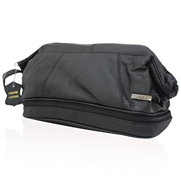 80f3efda212c MENS LUXURY REAL LEATHER TOILETRY BAG TRAVEL WASH BAG TRAVEL KIT WASHBAG  8116