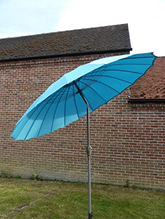 Blue Large 27m Crank And Tilt Garden Parasol Umbrella Japanese