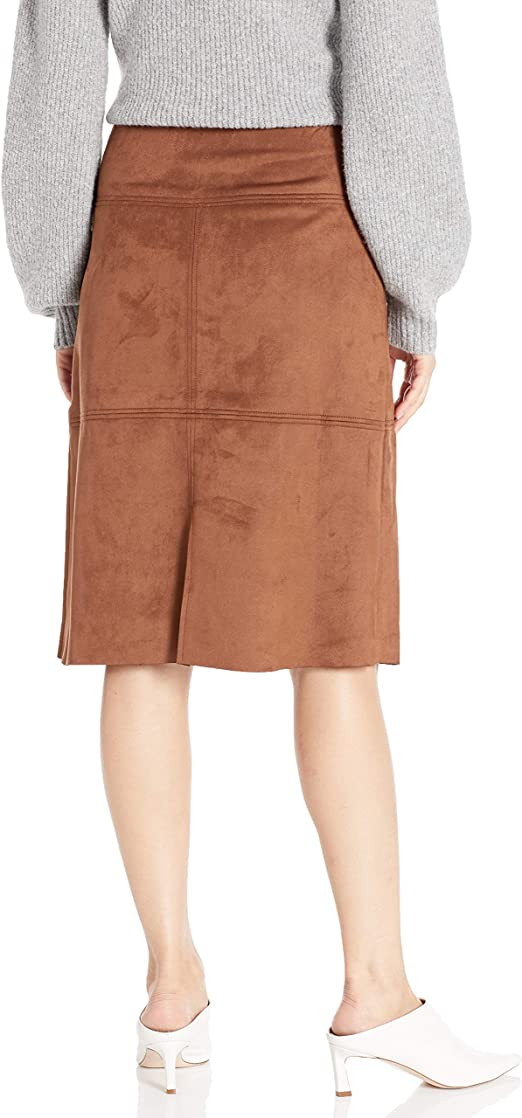 Chaps Womens Faux Suede Straight Fit Skirt