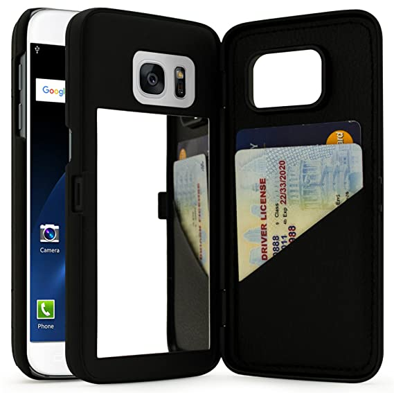 wholesale dealer 94aee 25074 Bastex Galaxy S7 Case, Black Hidden Back Mirror Wallet Case with Stand  Feature and Card Holder for Samsung Galaxy S7 G930