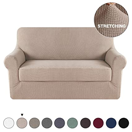 Amazon.com: Turquoize 2 Piece Loveseat Slipcover Form Fit Stretch ...