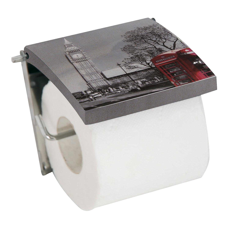 MSV 140574 D/érouleur WC Motif Londres MDF//INOX 13 x 15 x 11,5 cm
