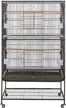 Froadp Vogelvoliere Vogelkäfig Voliere groß Vogelhaus mit Rollen für Nymphensittiche Papageien(79x51.8x132cm)