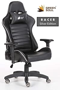 Green Soul Gaming/Desk Chair (Racer Series) (GS-650/Black-Silver) (PU Leather, 4D Armrests, Class 4 Hydraulic Piston, 60 mm Dual Caster, Head Support Pillow Included)