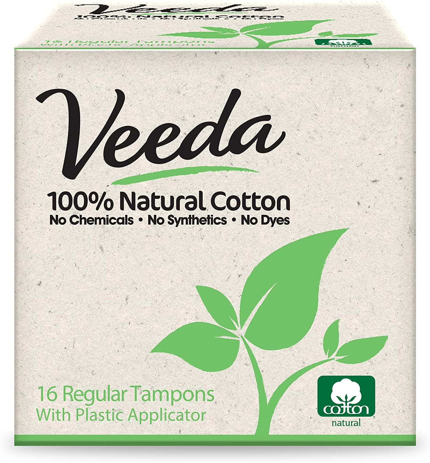 Veeda 100% Natural Cotton Compact Toxin BPA-Free Applicator Tampons