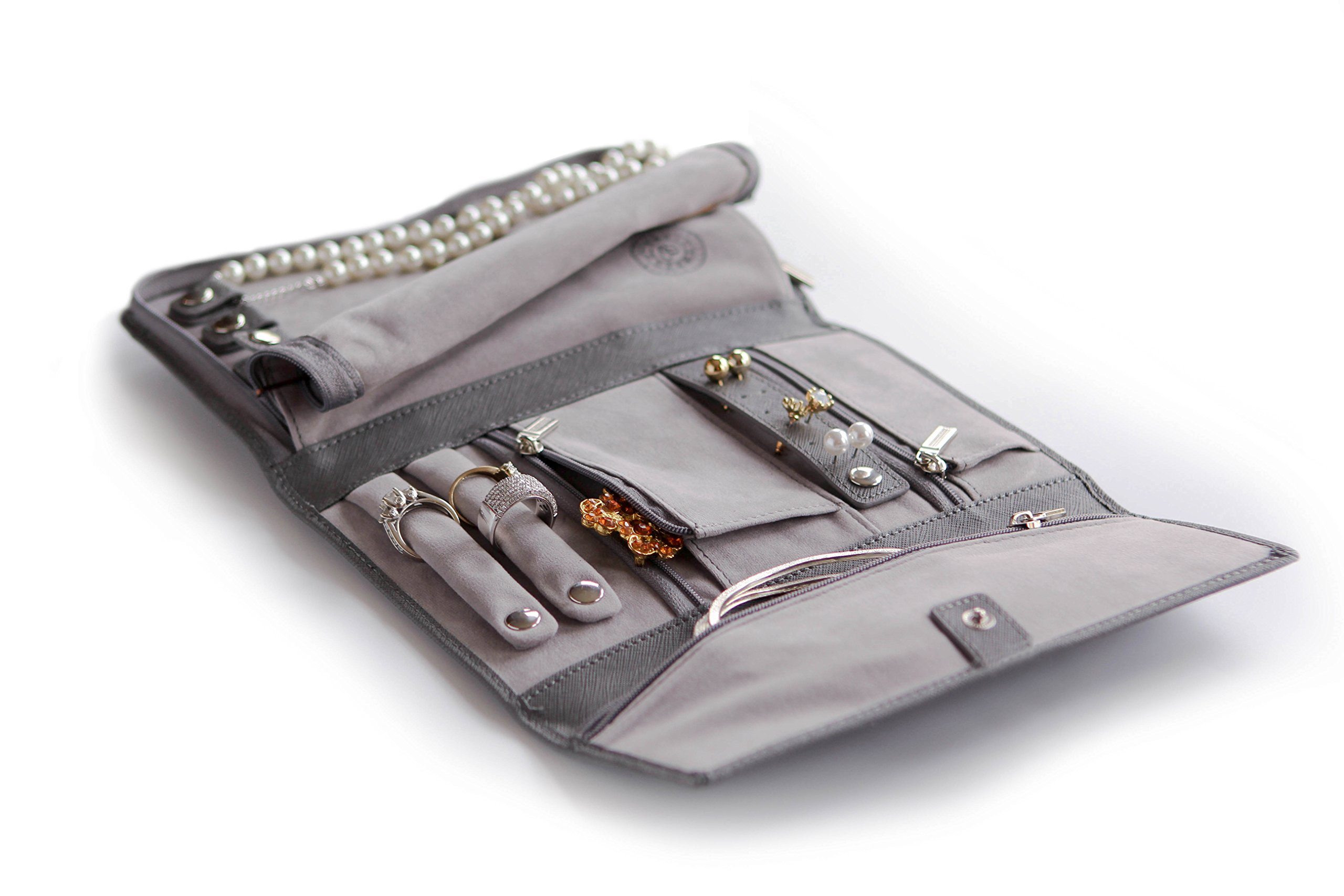 Saffiano Leather Travel Jewelry Case - Jewelry Organizer [Petite] by Case Elegance by case Elegance (Image #5)