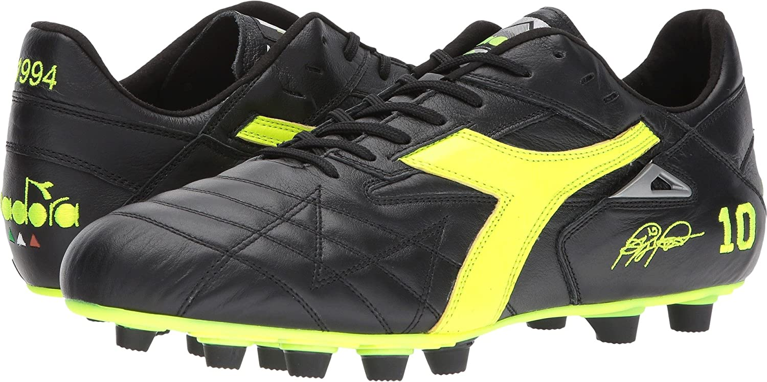 Diadora メンズ B01N2WHWD8 14 Women / 12.5 Men M US|Black/Yellow Flourescent Black/Yellow Flourescent 14 Women / 12.5 Men M US