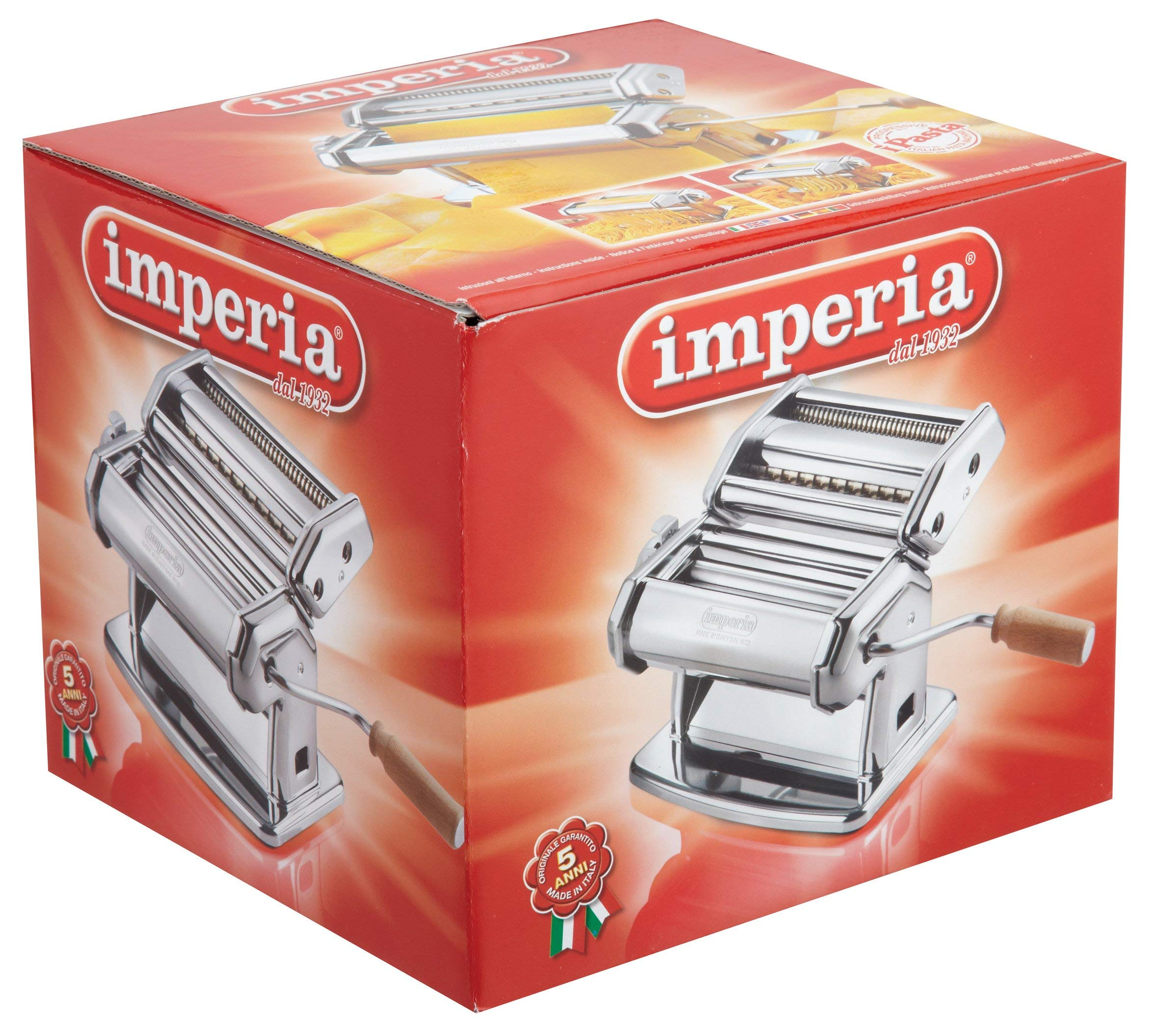 Imperia Pasta Maker Machine - Heavy Duty Steel Construction w Easy Lock Dial and Wood Grip Handle- Model 150 Made in Italy (Renewed) by Imperia