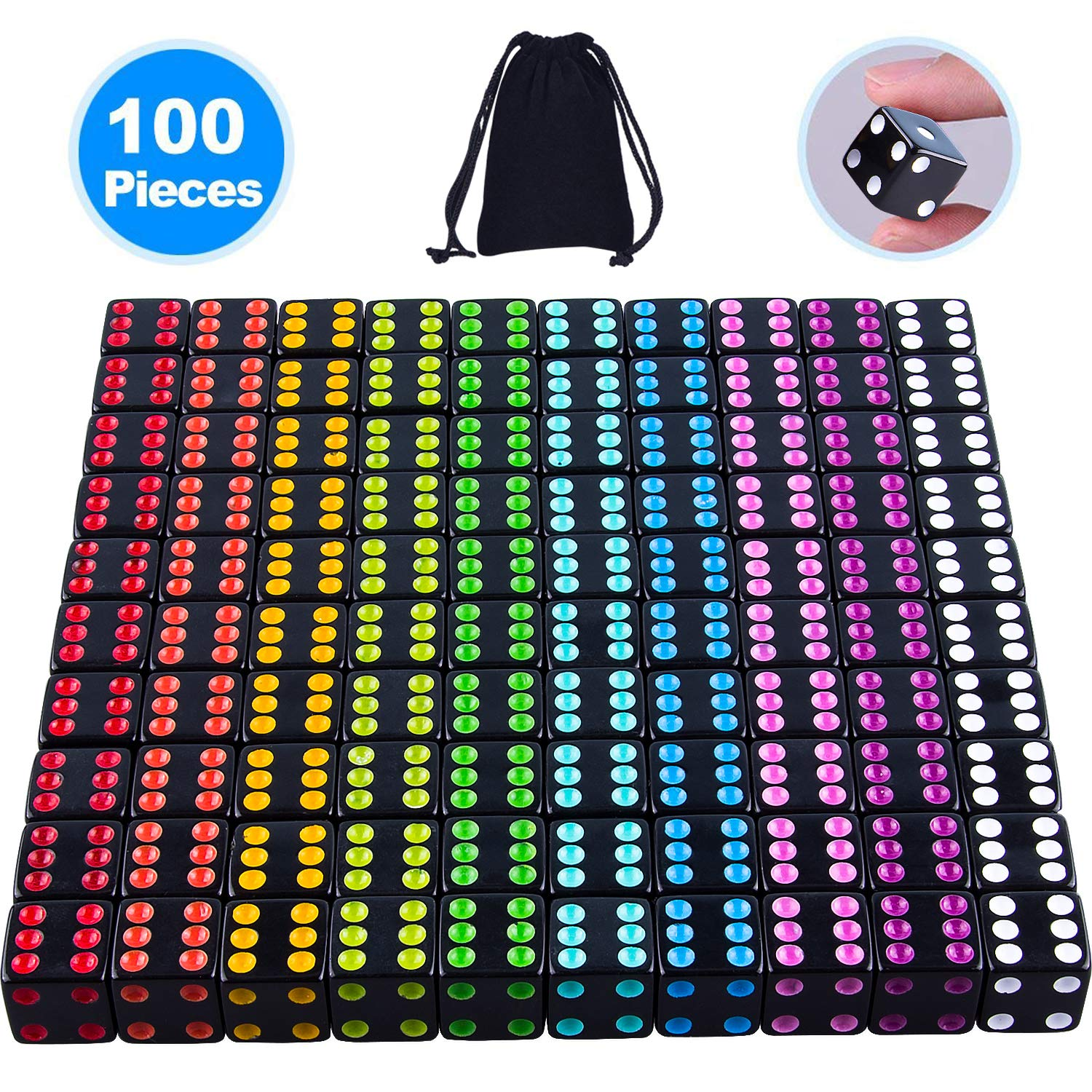 SIQUK 100 Pcs Black Dice with Colorful Pips 6 Sided Square Corner Dices Come with a Free Storage Bag by AUSTOR