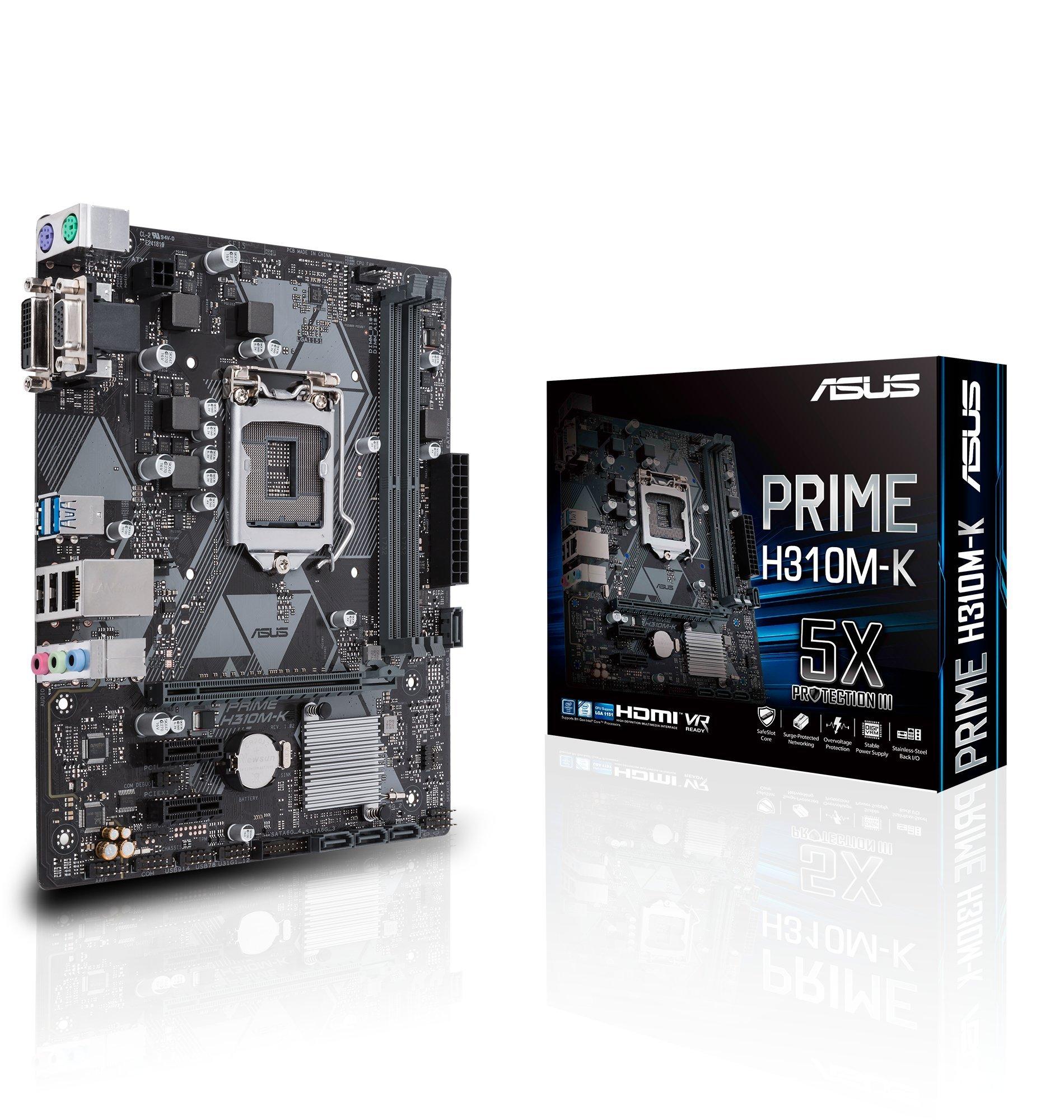 ASUS Prime H310M-K LGA1151 (Intel 8th Gen) DDR4 VGA DVI H310 Micro ATX Motherboard Model 90MB0X80-M0AAY0