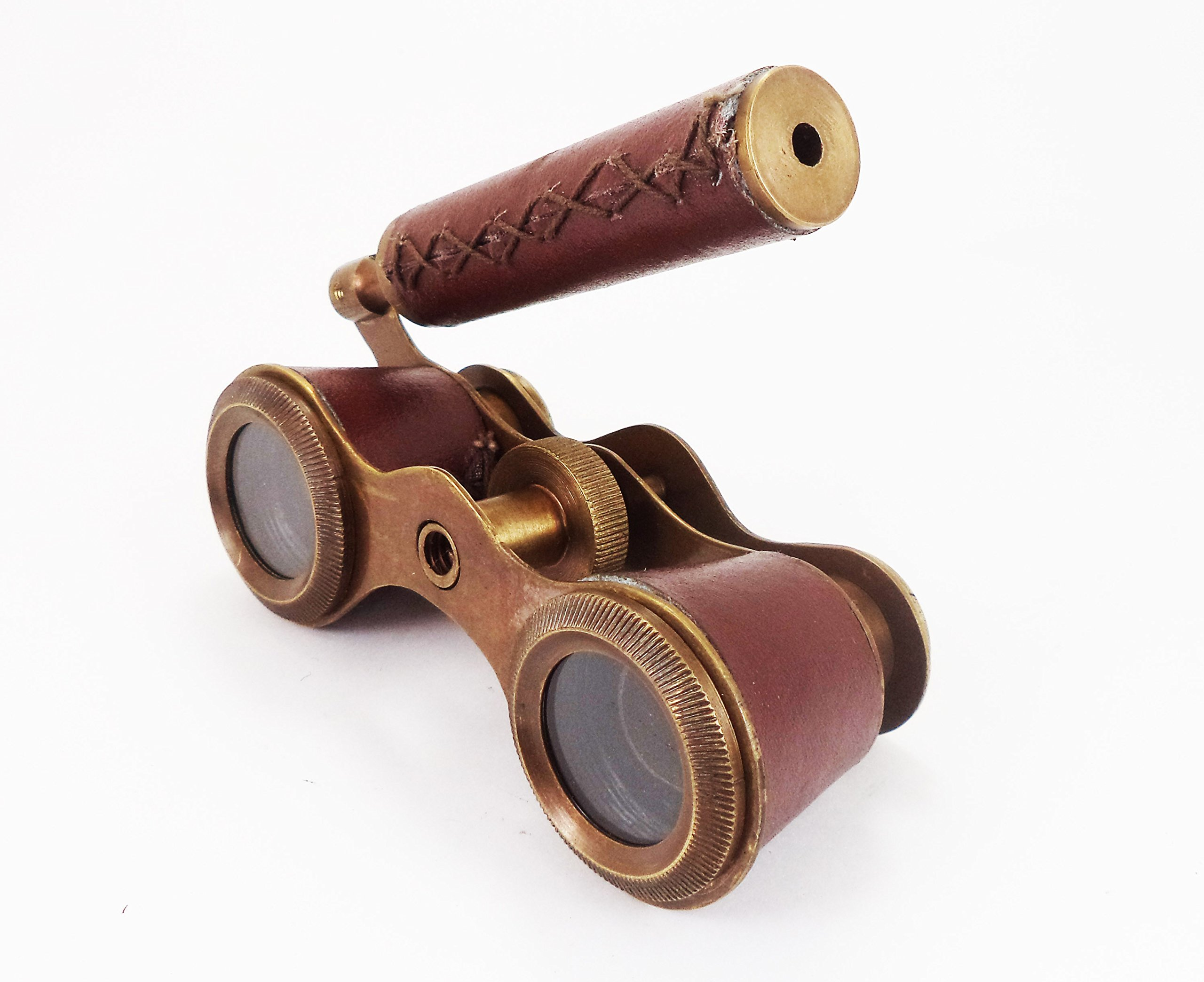 Nautical Opera Glasses Leather Encased Brass Hand Monocular Gift
