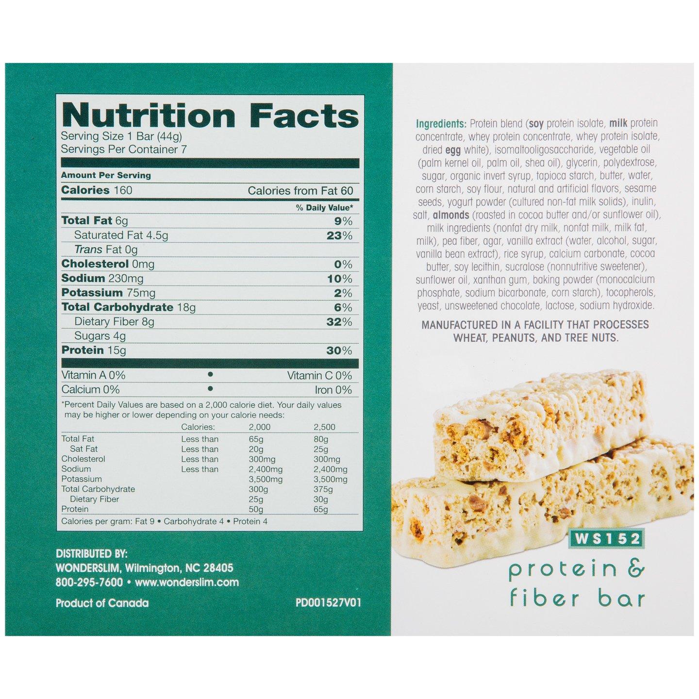 WonderSlim Low-Carb 15g Protein Diet Bar - Salted Toffee Pretzel - High Fiber Weight Loss Snack Bar - Gluten Free (7 Count)