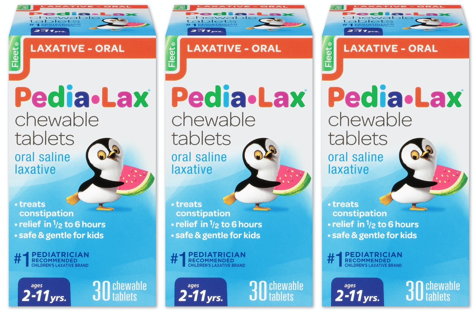 Pedia-Lax Children's Saline Laxative Chewable Tablets, Watermelon, 30 Tablets (Pack of 3) (Pack May Vary) by Pedia-Lax