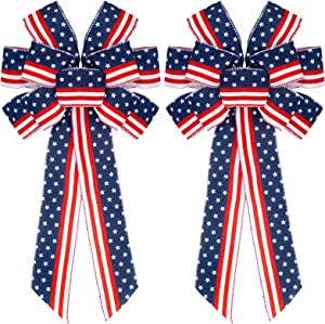 Whaline 2Pcs Large Patriotic Wreath Bow Red Blue Stars and Stripes Bow 4th of July American Flag Wreath Bow for Indoor Outdoor Bunting Wreath Holiday Independence Day Party Door Wall Decoration