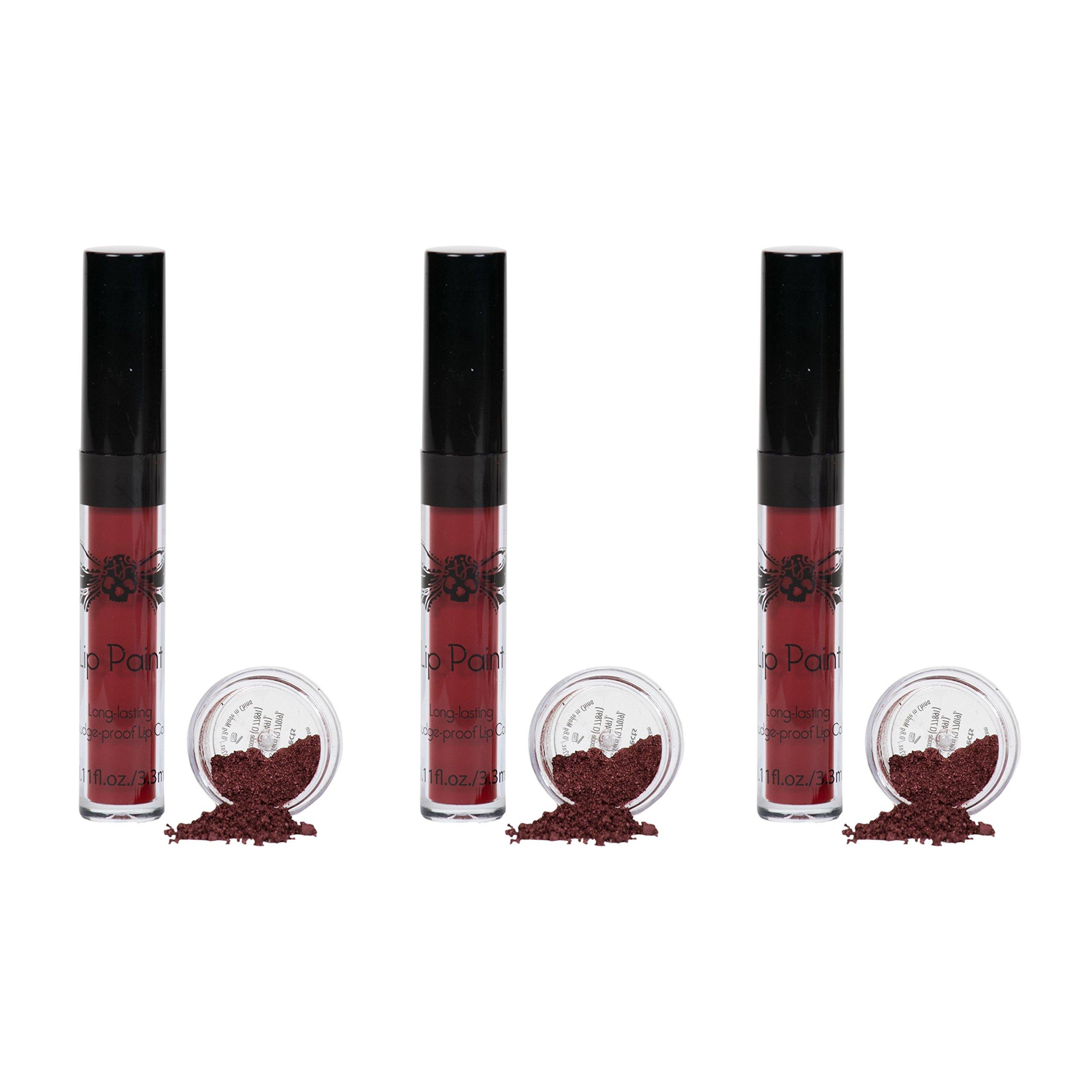 Tattoo Junkee Rebel Lip Kit Bundle - includes 3 Red Long Lasting Liquid Lipsticks + Shimmer Lip Effects, Pack of 3