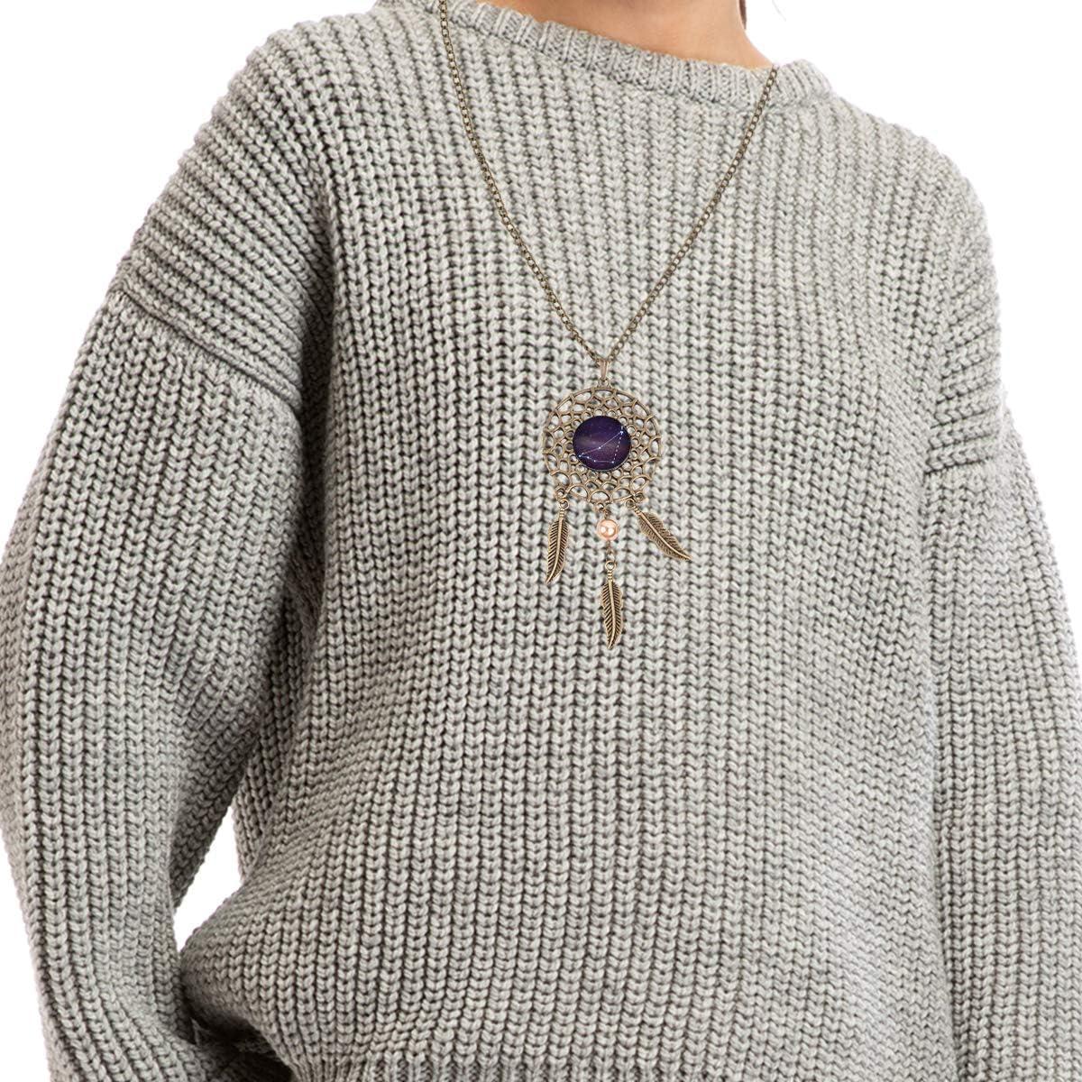 Queen Area Dream Catcher Necklace Capricornus Pendant Dangling Feather Tassel Bead Charm Chain Jewelry for Women
