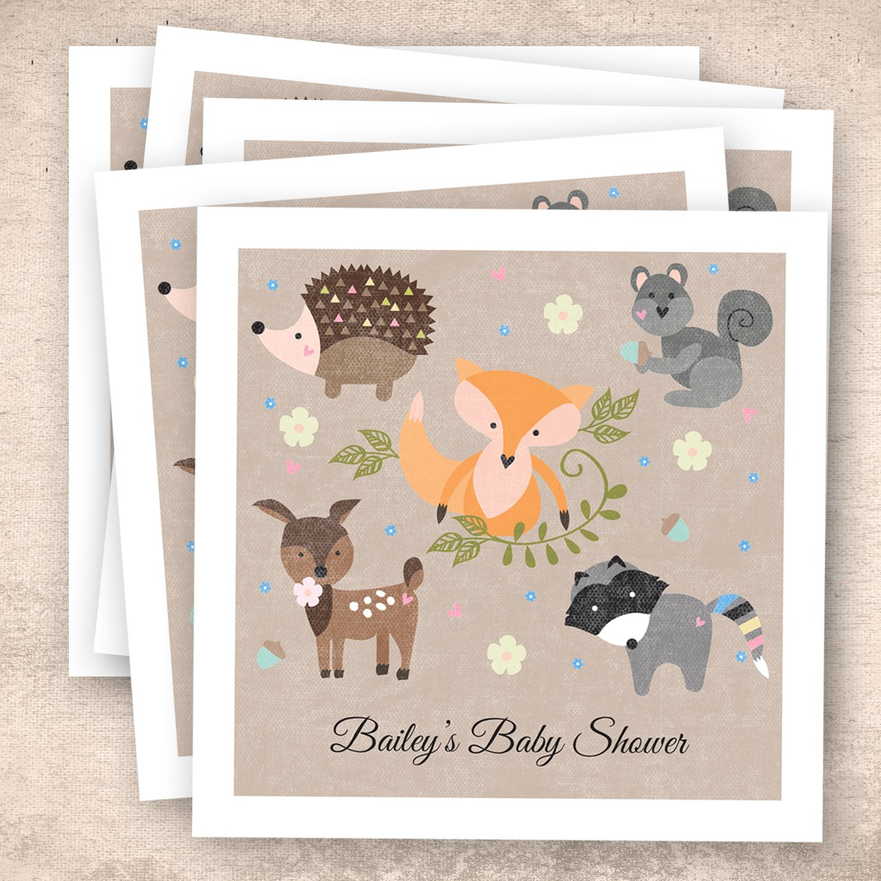 Woodland Animals Personalized Beverage Cocktail Napkins - 100 Custom Printed Paper Napkins by Canopy Street (Image #6)