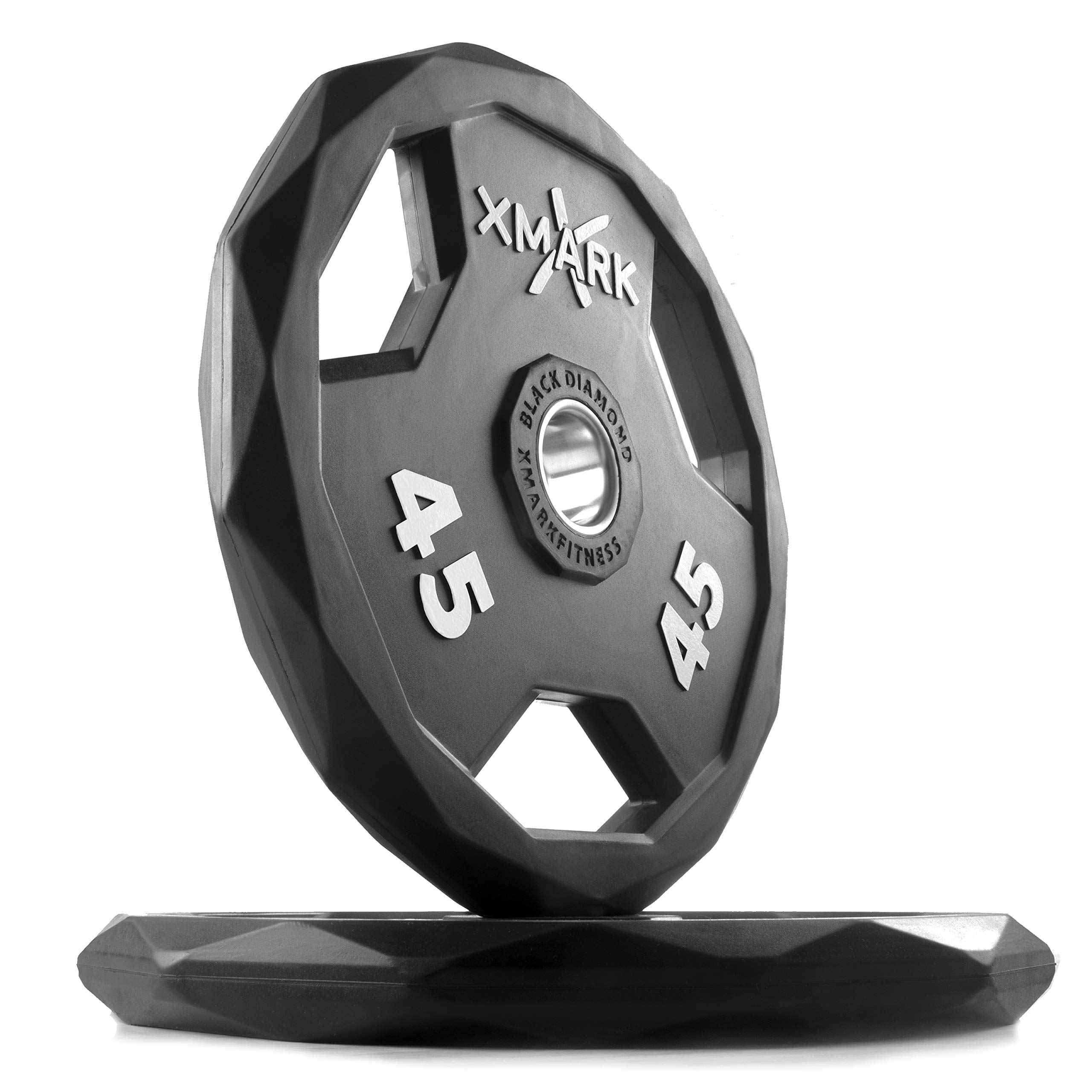 XMark Black Diamond 45 lb Pair Olympic Weight Plates, One-Year Warranty, Patented Design