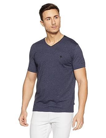 226a26e03 Van Heusen Athleisure Men's V-Neck Cotton T-Shirt (8907670964453_60001_Blue  Melange_S)