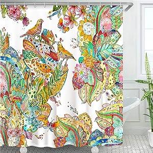"LIVILAN Colorful Flower Birds Shower Curtains Set with 12 Hooks, Durable Fabric Bath Curtain Home Decoration Bathroom Accessories, 72"" x 72"""