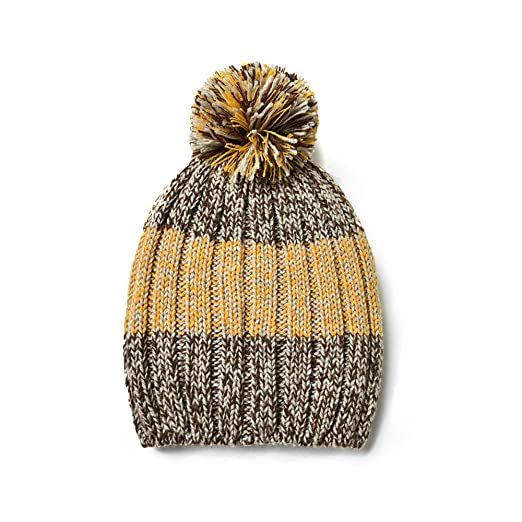 Image Unavailable. Image not available for. Color  Knit BonBons Light Brown  Miss Happy Stripe Beanie ... a36c35c8f440