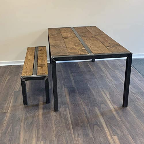 Industrial Rustic Dining Table Bench Style Vintage Style Solid Wood Chic Kitchen U Metal Frame Handmade In Rotherham Amazon Co Uk Handmade