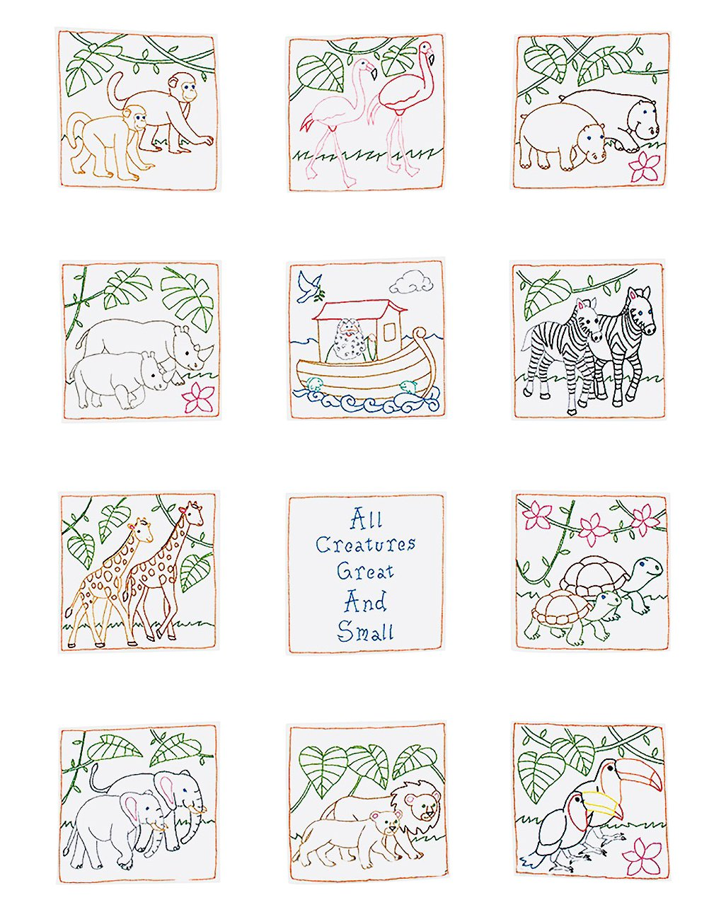 Jack Dempsey Stamped White Nursery Quilt Blocks, 9-Inch by 9-Inch, Noah's Ark, 12-Pack (300 890) Noah' s Ark