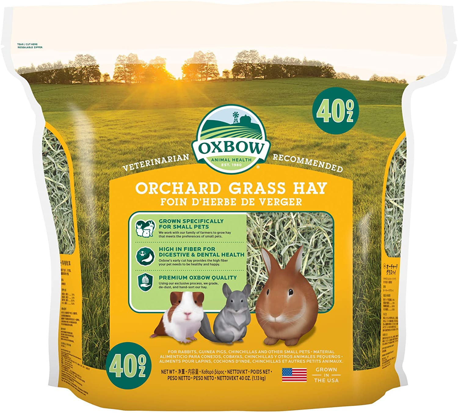 Oxbow Animal Health Orchard Grass Hay - All Natural Grass Hay for Chinchillas, Rabbits, Guinea Pigs, Hamsters & Gerbils - 40 oz.