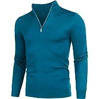 Coofandy Men's Mock Neck Turtleneck Polo Sweater Slim Fit Long Sleeve 1/4 Zip Up Pullover