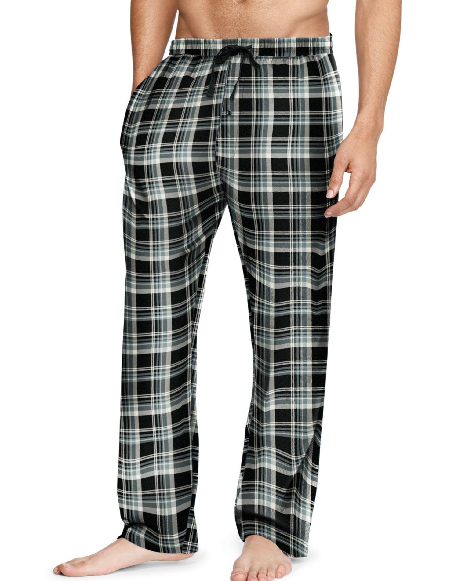 Hanes Men`s Flannel Pants with Comfort Flex Waistband, M, Grey/Navy
