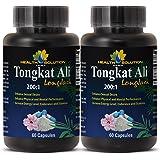 Tongkat ali root - Tongkat Ali 200:1 Premium Extract - Boost libido (2 Bottles - 120 Capsules)
