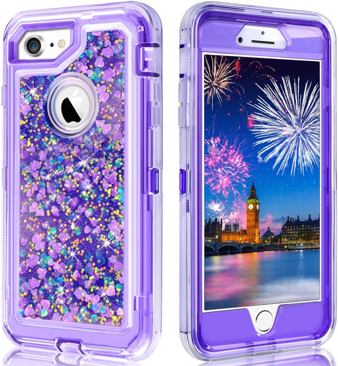 WOLLONY for iPhone SE2 Case,iPhone 6 Case,iPhone 7 Case,Full Body Shockproof Liquid Glitter Quicksand Bling Heavy Duty Hard Bumper Non-Slip Soft Transparent Protective for iPhone SE2 8 7 6 Purple