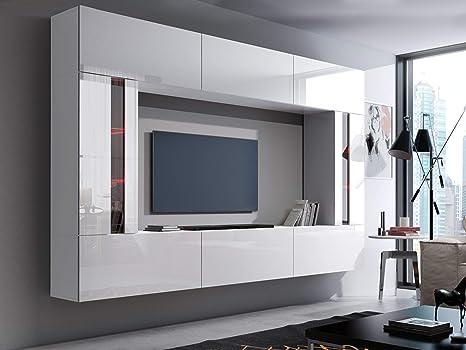 HomeDirectLTD Future 28, Conjunto de Muebles De Salón, Módulo Bajo para TV Y Multimedia, Unidad de Entretenimiento, Mueble TV, Suite a Estrenar (Iluminación RGB LED Opcional) (28_HG_W_2, Azul LED): Amazon.es: Hogar