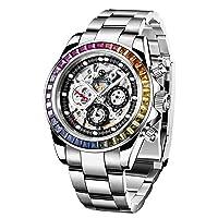 Men's Multifunction Waterproof Watches Business Casual Stainless Steel Bracelet Wrist Watch for Men