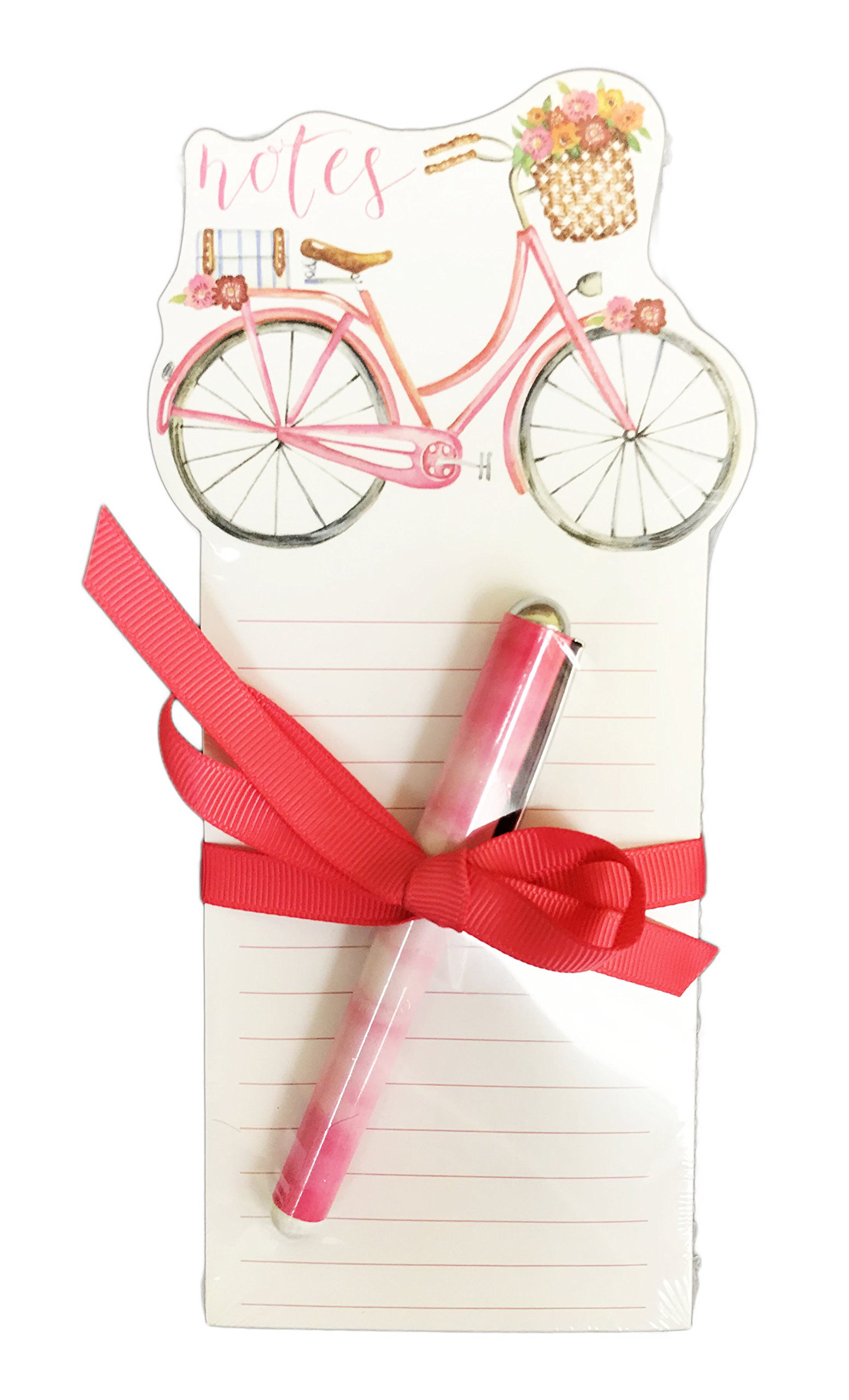Whimsical Pink Bicycle Notepad with Pen Novelty Desk Office Gift Set 8.25'' x 4''