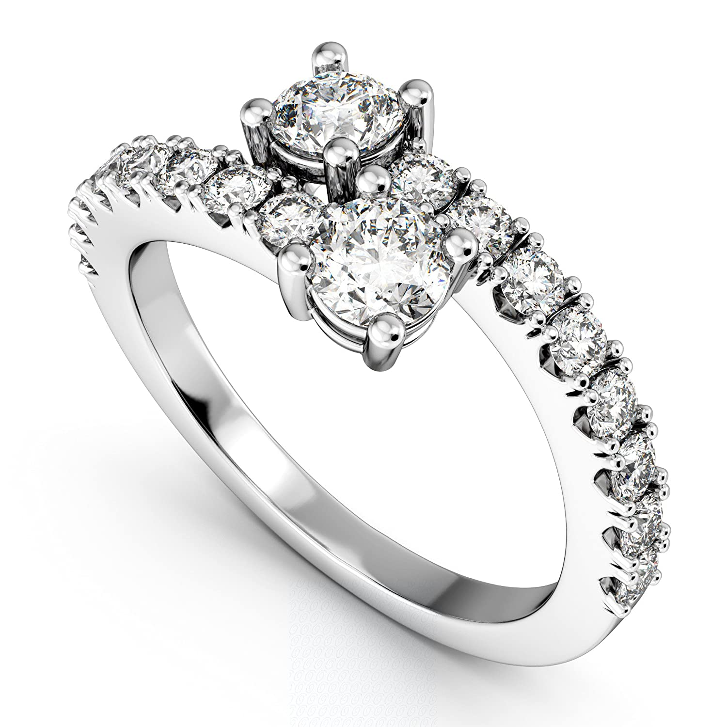 Womens Ever Us Two Stone Diamond Ring with Accents Palladium